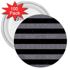 Stripes2 Black Marble & Gray Colored Pencil 3  Buttons (100 Pack)