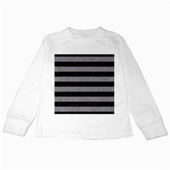 Stripes2 Black Marble & Gray Colored Pencil Kids Long Sleeve T Shirts