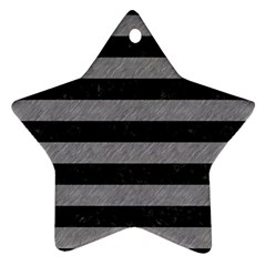 Stripes2 Black Marble & Gray Colored Pencil Star Ornament (two Sides)