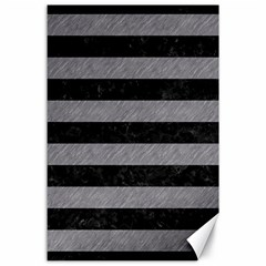 Stripes2 Black Marble & Gray Colored Pencil Canvas 24  X 36