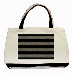 Stripes2 Black Marble & Gray Colored Pencil Basic Tote Bag (two Sides)
