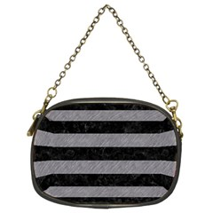 Stripes2 Black Marble & Gray Colored Pencil Chain Purses (two Sides)