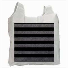 Stripes2 Black Marble & Gray Colored Pencil Recycle Bag (two Side)
