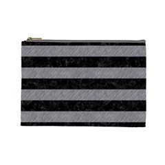 Stripes2 Black Marble & Gray Colored Pencil Cosmetic Bag (large)