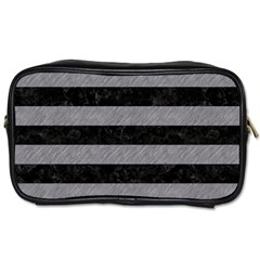 Stripes2 Black Marble & Gray Colored Pencil Toiletries Bags