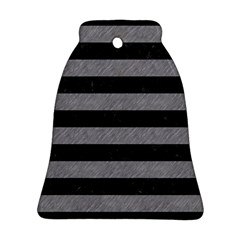 Stripes2 Black Marble & Gray Colored Pencil Ornament (bell)