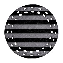 Stripes2 Black Marble & Gray Colored Pencil Round Filigree Ornament (two Sides)