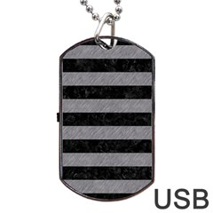 Stripes2 Black Marble & Gray Colored Pencil Dog Tag Usb Flash (two Sides)