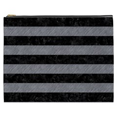 Stripes2 Black Marble & Gray Colored Pencil Cosmetic Bag (xxxl)