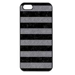 Stripes2 Black Marble & Gray Colored Pencil Apple Iphone 5 Seamless Case (black)