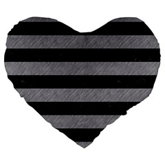 Stripes2 Black Marble & Gray Colored Pencil Large 19  Premium Heart Shape Cushions