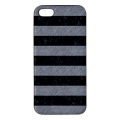 Stripes2 Black Marble & Gray Colored Pencil Apple Iphone 5 Premium Hardshell Case