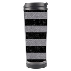 Stripes2 Black Marble & Gray Colored Pencil Travel Tumbler
