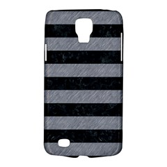 Stripes2 Black Marble & Gray Colored Pencil Galaxy S4 Active