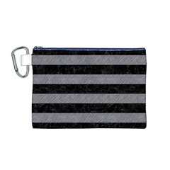Stripes2 Black Marble & Gray Colored Pencil Canvas Cosmetic Bag (m)