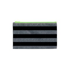 Stripes2 Black Marble & Gray Colored Pencil Cosmetic Bag (xs)