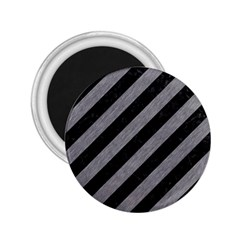 Stripes3 Black Marble & Gray Colored Pencil 2 25  Magnets