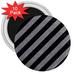 Stripes3 Black Marble & Gray Colored Pencil 3  Magnets (10 Pack)