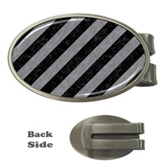 Stripes3 Black Marble & Gray Colored Pencil Money Clips (oval)