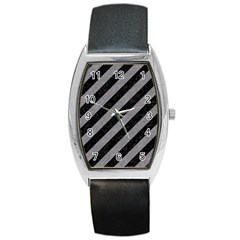 Stripes3 Black Marble & Gray Colored Pencil Barrel Style Metal Watch