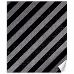 Stripes3 Black Marble & Gray Colored Pencil Canvas 8  X 10