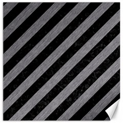Stripes3 Black Marble & Gray Colored Pencil Canvas 20  X 20