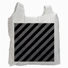 Stripes3 Black Marble & Gray Colored Pencil Recycle Bag (two Side)