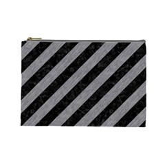 Stripes3 Black Marble & Gray Colored Pencil Cosmetic Bag (large)