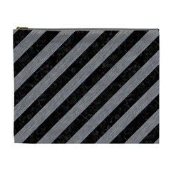 Stripes3 Black Marble & Gray Colored Pencil Cosmetic Bag (xl)