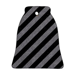 Stripes3 Black Marble & Gray Colored Pencil Ornament (bell)