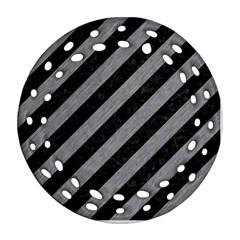 Stripes3 Black Marble & Gray Colored Pencil Round Filigree Ornament (two Sides)
