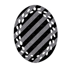 Stripes3 Black Marble & Gray Colored Pencil Oval Filigree Ornament (two Sides)