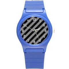 Stripes3 Black Marble & Gray Colored Pencil Round Plastic Sport Watch (s)