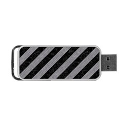 Stripes3 Black Marble & Gray Colored Pencil Portable Usb Flash (two Sides)