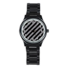 Stripes3 Black Marble & Gray Colored Pencil Stainless Steel Round Watch