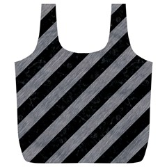 Stripes3 Black Marble & Gray Colored Pencil Full Print Recycle Bags (l)