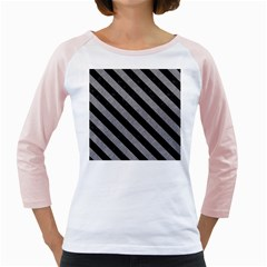 Stripes3 Black Marble & Gray Colored Pencil (r) Girly Raglans