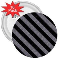 Stripes3 Black Marble & Gray Colored Pencil (r) 3  Buttons (10 Pack)