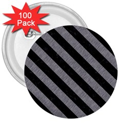 Stripes3 Black Marble & Gray Colored Pencil (r) 3  Buttons (100 Pack)