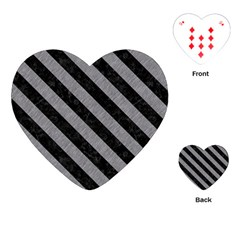 Stripes3 Black Marble & Gray Colored Pencil (r) Playing Cards (heart)