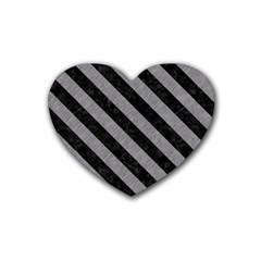 Stripes3 Black Marble & Gray Colored Pencil (r) Heart Coaster (4 Pack)