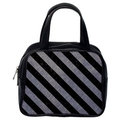 Stripes3 Black Marble & Gray Colored Pencil (r) Classic Handbags (one Side)