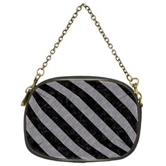 Stripes3 Black Marble & Gray Colored Pencil (r) Chain Purses (one Side)