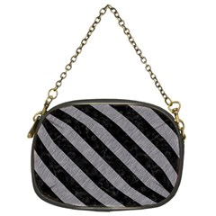 Stripes3 Black Marble & Gray Colored Pencil (r) Chain Purses (two Sides)