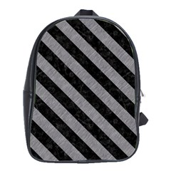Stripes3 Black Marble & Gray Colored Pencil (r) School Bag (large)