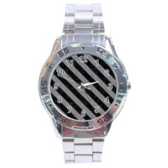Stripes3 Black Marble & Gray Colored Pencil (r) Stainless Steel Analogue Watch