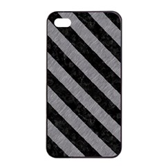 Stripes3 Black Marble & Gray Colored Pencil (r) Apple Iphone 4/4s Seamless Case (black)