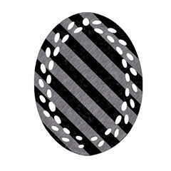 Stripes3 Black Marble & Gray Colored Pencil (r) Oval Filigree Ornament (two Sides)