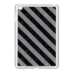 Stripes3 Black Marble & Gray Colored Pencil (r) Apple Ipad Mini Case (white)