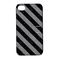 Stripes3 Black Marble & Gray Colored Pencil (r) Apple Iphone 4/4s Hardshell Case With Stand